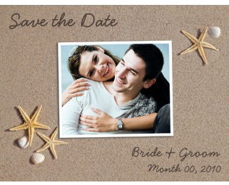 beach theme save the date cards