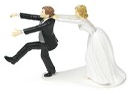 funny bride and groom wedding cake topper