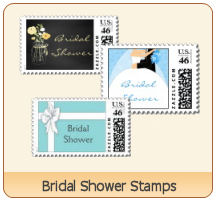 bridal shower postage stamps by PM Custom Weddings